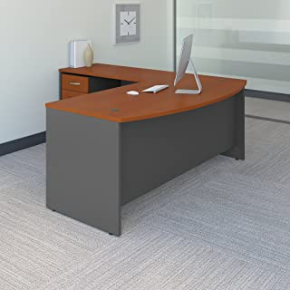Bush Business Furniture Series C 72W Bow Front L Shaped Desk with 48W Return and Mobile File Cabinet in Auburn Maple