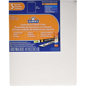 Elmer's Foam Board Multi-Pack, 8 x 10 Inches, 3/16 Inch Thickness, White, 5 Count