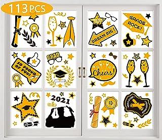 Geefuun 90PCS Graduation Window Clings Decorations 2020- Grad Cap,Diploma, Star Party Decor Supplies