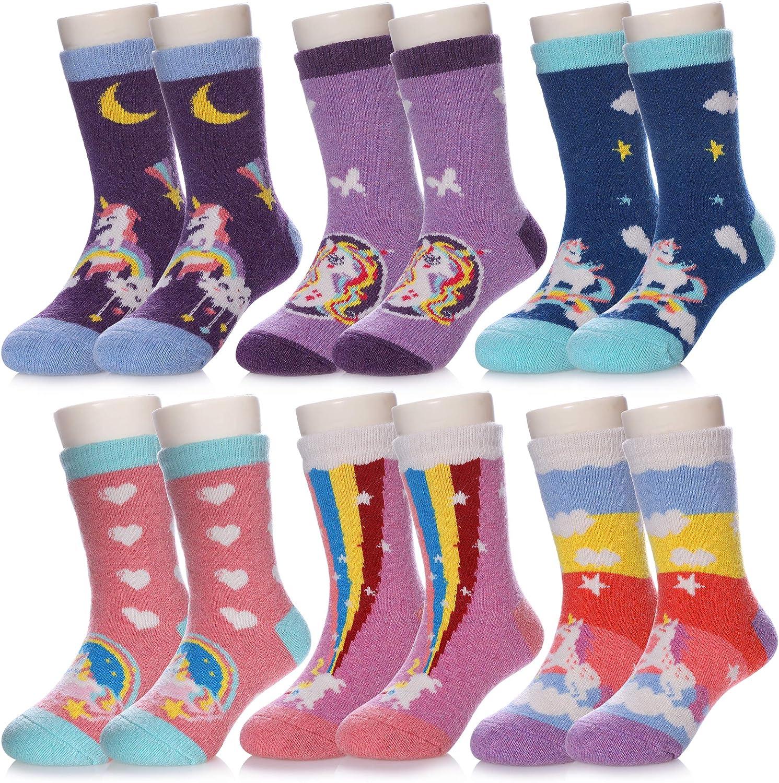 DOSKONI 6 Pack Children Boys Girls Thick Wool Winter Socks Kid Cute Cartoon Animal Warm Thermal Crew Socks