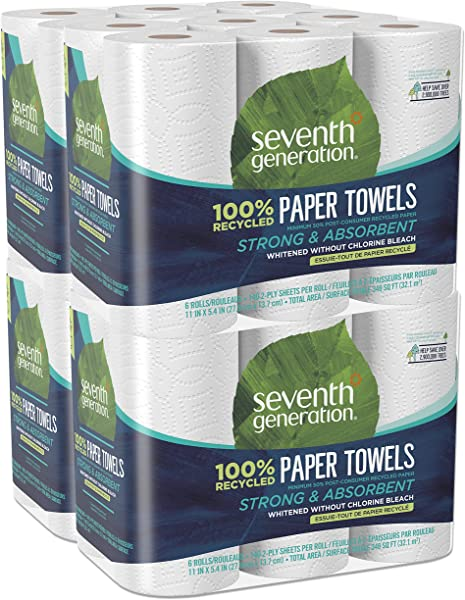 Seventh Generation Paper Towels 100 Recycled Paper 2 Ply 6 Count Pack Of 4
