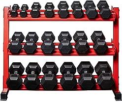 Rep Fitness Rubber Hex Dumbbell Set with Racks, 5-50 Set, 5-75 Set, 5-100 Set, 2.5-27.5 Set, 55-75, 80-100, or 105-125 Set. Available with and Without Racks.