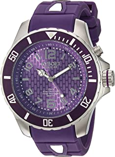 KYBOE! Power Stainless Steel Quartz Watch with Silicone Strap, Purple, 22 (Model: KY.48-040.15