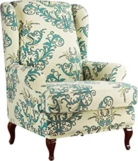 Subrtex Spandex Universal Wing Back Armchair Covers Floral Printed Chair Slipcovers Furniture Protector (Green)