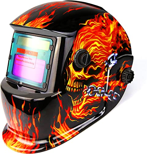 popular DEKOPRO Welding Helmet Solar Powered Auto Darkening online Hood with Adjustable lowest Shade Range 4/9-13 for Mig Tig Arc Welder Mask Shield Flaming Skull Design sale