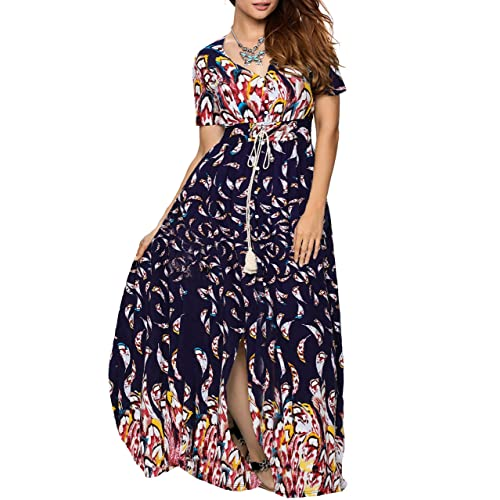 b2298f8eb2 Aofur Women s Vintage A-line Swing Cotton Dress Maxi Party Evening Cocktail  Dress