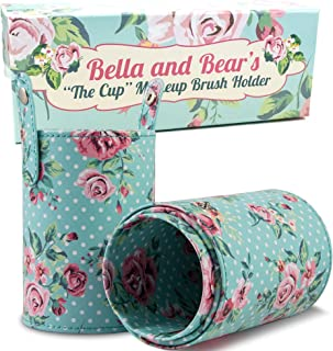 Bella and Bear Makeup Brush Holder - Travel Cup Organizer for Full Size Cosmetic Makeup Brushes - Vegan