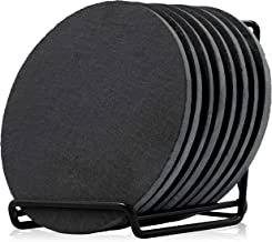 Juvale Round Slate Coasters Set of 8 - With Rack - 4 Inches Diameter - Black