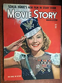 Movie Story July 1943 with SONJA HENIE on the cover. Inside stories on I DOOD IT with Eleanor Powell, STORMY WEATHER full page ad Lena Horne, candid shot Ronald Reagan, Mary Livingston, Barbara Stanwyck and Robert Taylor, candid Mr. and Mrs. Gary Cooper with Mr and MRs Barbara Stanwyck.