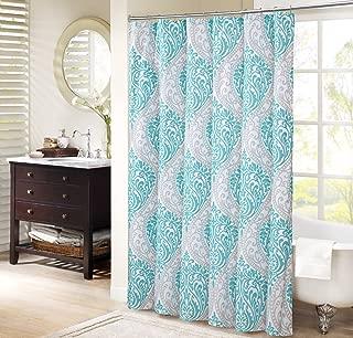 Comfort Spaces Coco Bathroom Shower Printed Damask Pattern Modern Cute Microfiber Fabric Bath Curtains, 72