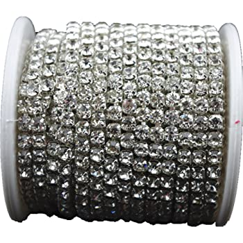 Onee To Eight 10 Yard Crystal Rhinestone Close Chain Clear Trim Sewing Craft Silver Color Various Extra Large Size 6mm