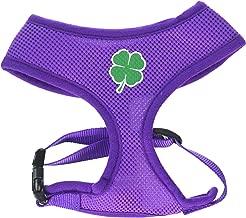 Mirage Pet Products Shamrock Screen Print Soft Mesh Harness Purple Medium