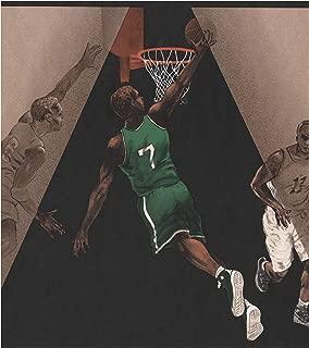 Basketball Players Black Brown Sports Wallpaper Border Retro Design, Roll 15' x 10.5''