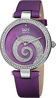 Swarovski Encrusted Crystals Women's Watch - Sparkled Swirl on Mother of Pearl Dial – A Diamond Marker on a Genuine Leather Strap - BUR143
