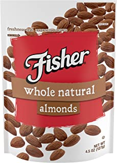 FISHER Snack Whole Natural Almonds, 4.5 oz (Pack of 6)