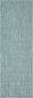 Unique Loom Outdoor Solid Collection Casual Transitional Indoor and Outdoor Flatweave Aquamarine Runner Rug (2' 0 x 6' 0)