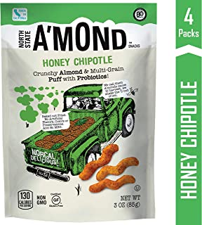 Honey Chipotle Snack Puffs by A'mond Snacks, 4 Pack, 3 oz Each, Almond & Ancient Grain Plant-Based Blend, Gluten-Free and Non-GMO