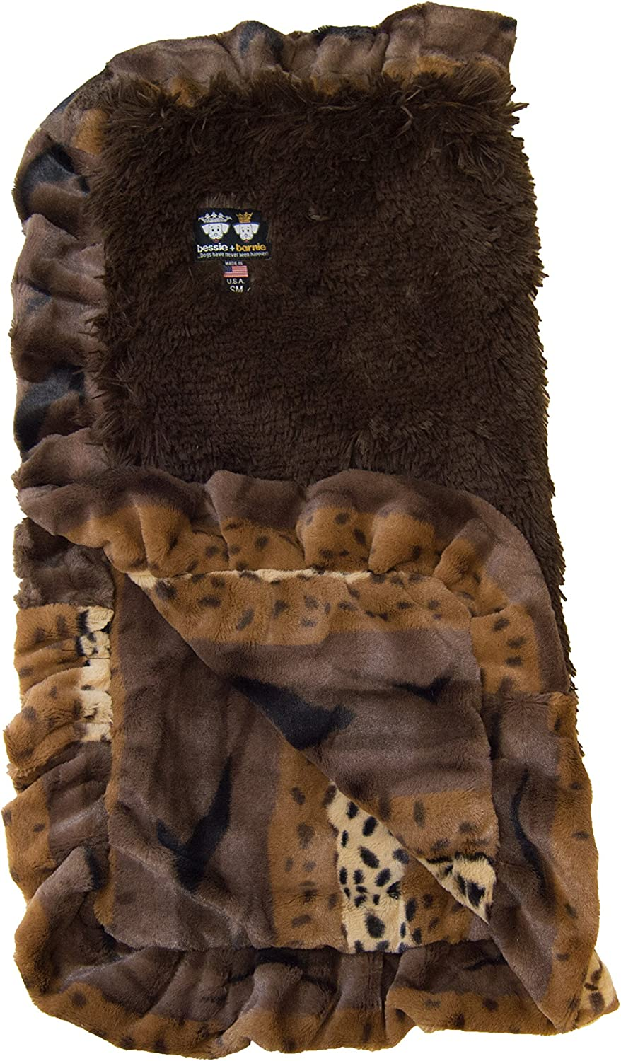BESSIE AND BARNIE Wild Kingdom Ruffle Grizzly Bear Shag Ultra Plush Faux Fur Pet, Dog, Cat, Puppy Super Soft Reversible Blanket (Multiple Sizes)