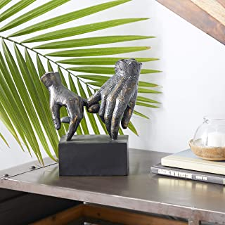 "Deco 79 Large ""Pinky Swear"" Hands Block Base, Best Friend Statues Sculpture, 9"" x 10"", Black &..."