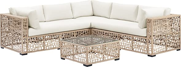 WE Furniture AZRBSRWNL Outdoor Sectional Sofa Set, Natural