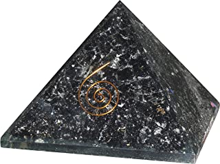 FASHIONZAADI Black Tourmaline Orgone Pyramid for Crystal Stone Energy Chakra Balancing EMF Protection Reiki Healing Meditation Spiritual Gift Size: 2.5-3 Inch