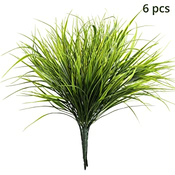 LumenTY 6 Pcs Artificial Fern Bush Plants Shrubs Greenery Artificial plant Faux Plastic Green Plant Decoration for Indoor and Outdoor Home Dining Table Garden Office Balcony Wedding Party Decoration