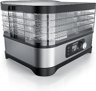 Arendo - Torrtomat med temperaturregulator 400 W – rostfritt stål torkmaskin för mat kött frukt grönsaker – med timer upp ...