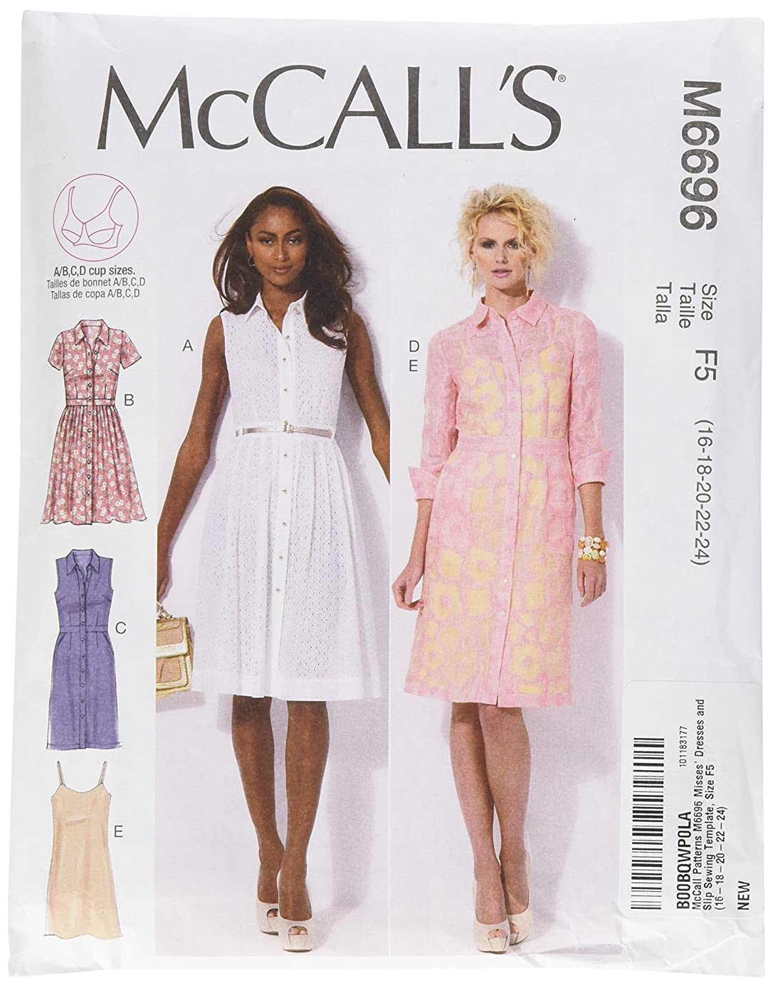 McCall Patterns M6696 Misses' Dresses and Slip Sewing Template, Size F5 (16-18-20-22-24)