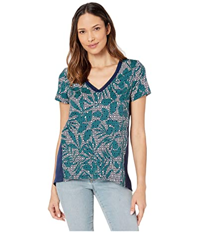 Tommy Bahama Breezy Blooms Mixed V-Neck Tee (Deep Sea Teal) Women