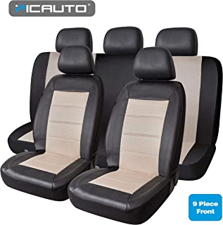 PIC AUTO Universal Fit Full Set Mesh & Leather Car Seat Covers (Beige)