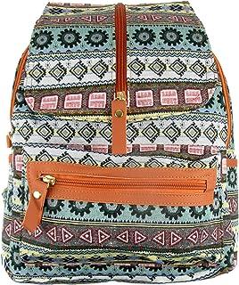 Mochila Hippie de Lona y PU Cuero, Mochila Casual para Mujer y Bolsa de Viaje. Medidas 32cm X 27cm X 12cm. (Verde)