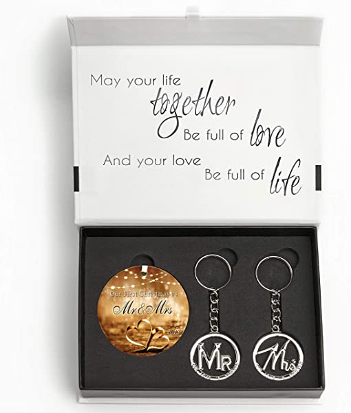 Wedding Gift Set Elegant Our First Christmas Ornament 2019 With Mr And Mrs Metal Keychains Includes Designer Keepsake Box And Gift Tag Perfect Wedding Gifts For The Bride Groom Or Newlyweds