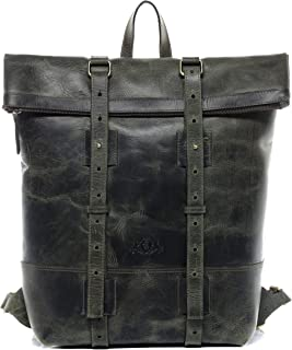 SID & VAIN Rucksack echt Leder CHAZ | Vintage-Look | XXL groß Backpack Tagesrucksack Kurierrucksack 15,4 Laptop Leder-Rucksack Herren grün