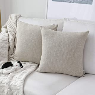 Best Kevin Textile Decoration Supersoft Linen Cushion Covers Square Throw Pillows Cover for Couch, 50x50 cm, Set of 2, Light Beige Review