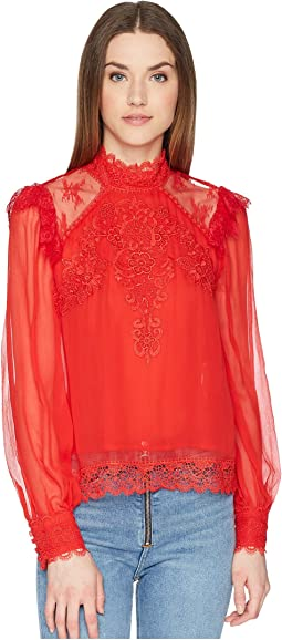 Silk Top with A Lace Collar