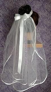 First Communion Veil Bun Wrap, White (O)