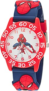 MARVEL Boys Spider-Man Analog-Quartz Watch with Plastic Strap, Blue, 15 (Model: WMA000171)