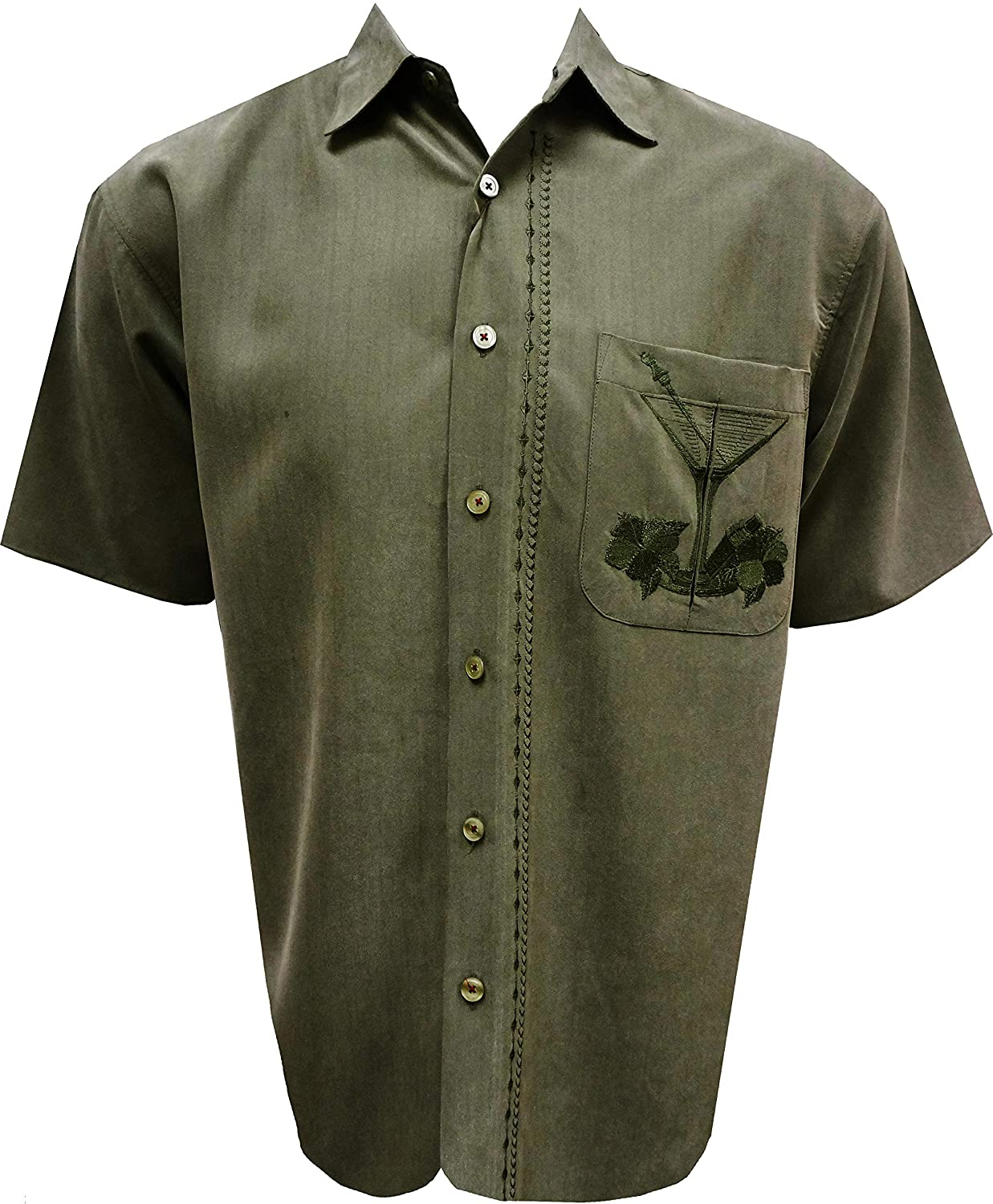 Bamboo Dedication Manufacturer regenerated product Cay Mens Short Sleeve W Martini Embroidered Olivas Casual