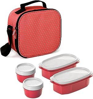 TATAY Urban Food Casual - Bolsa térmica porta alimentos con 4 tapers herméticos incluidos, 3 litros de capacidad, Rojo (Re...