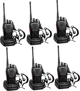 Arcshell Rechargeable Long Range Two-Way Radios with Earpiece 6 Pack UHF 400-470Mhz..