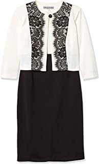 Danny and Nicole Women's Two Piece 3/4 Sleeve Jacket and Round Neck Dress