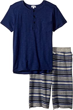 Splendid Littles Stripe Print Baby French Terry Short Set (Little Kids/Big Kids)