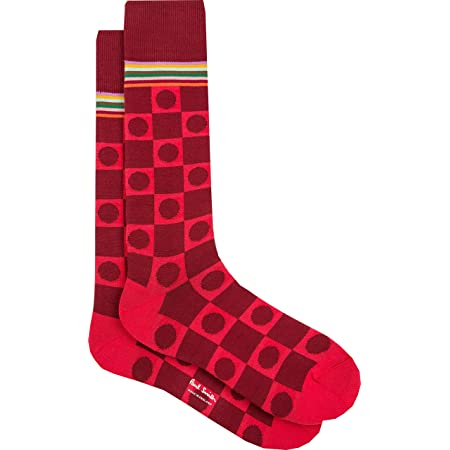 """PAUL SMITH """"Mngram Multi"""" Mens Cotton One Size Socks Red Squares & Circles with Multicoloured Top Stripes"""