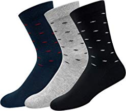NAVYSPORT Men's Cotton Formal Socks with Cushion (Multicoloured, Free Size), Pack of 3