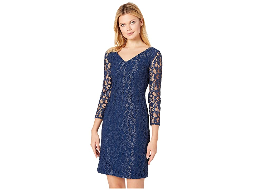 LAUREN Ralph Lauren Filigree Metallic Lace Dederika Dress (Luxe Beryl/Silver) Women