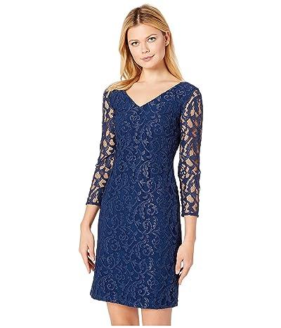 LAUREN Ralph Lauren Filigree Metallic Lace Dederika Dress (Luxe Beryl/Silver) Women
