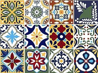 BRIKETO Talavera Decorative Tile Stickers Set 12 Units 6x6 inches. Peel & Stick Vinyl Tiles. Backsplash. Home Decor. Furniture Decor. Staircase Decor. 3 sqf per Package.