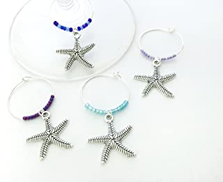 Starfish Wine Charms, Gift for Beach Lover, beach Vacation, Summer at the Shore, Star fish, Set of 4. MULTI COLOR BEADS.