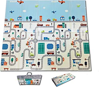 Fun N Well Foldable XPE Baby Play Mat | King Size 197x178x1cm | Non Allergenic & Non Toxic Foam | Waterproof & Reversible | Comfortable & Safe Zone for Your Kids to Play | Free Carry Bag for Easy Travel & Storage