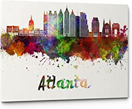 Watercolor City Splash Skyline Wall Art Canvas Print (Atlanta)